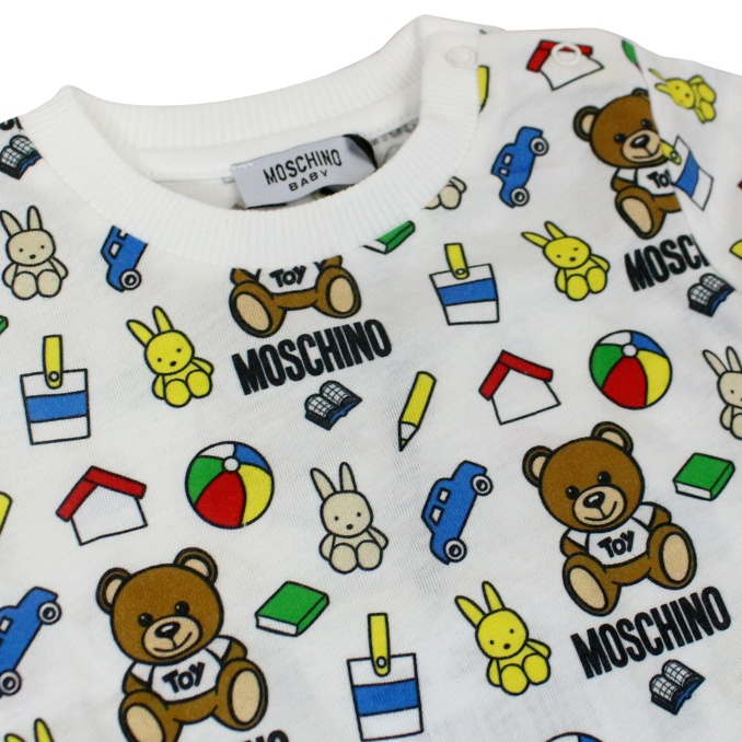 T-shirt con stampa multicolor all over Bianco fantasia MOSCHINO