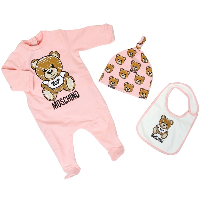 Set with bear print Rose MOSCHINO