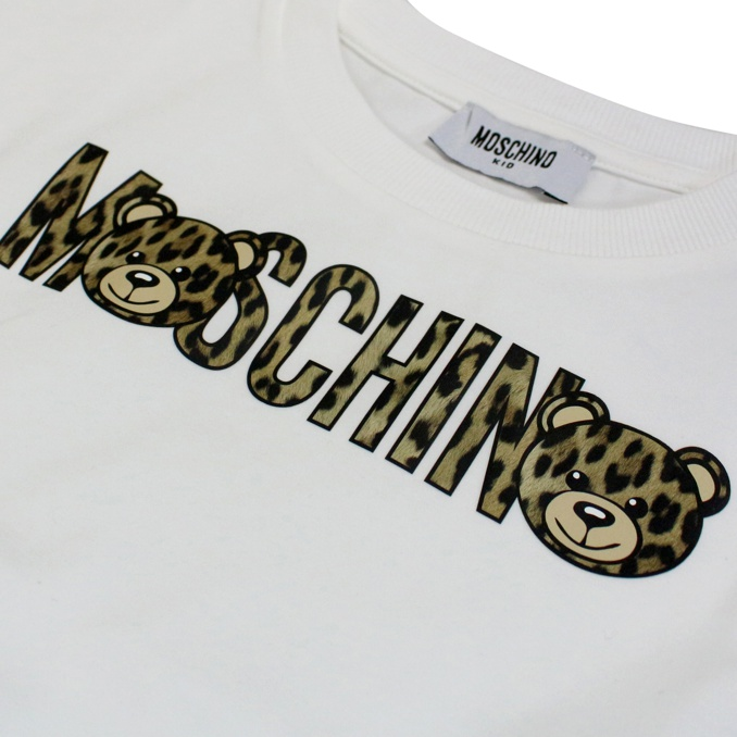 Dress with spotted logo print Black white MOSCHINO