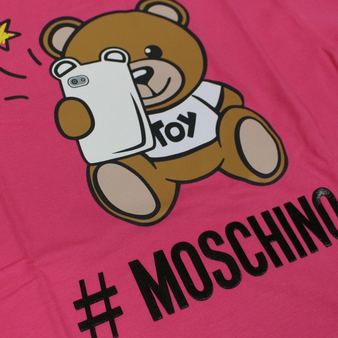 T-shirt with bear cell print Fuchsia MOSCHINO