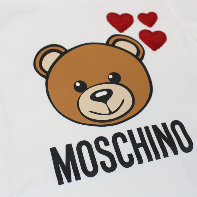 Bear and hearts print t-shirt White MOSCHINO