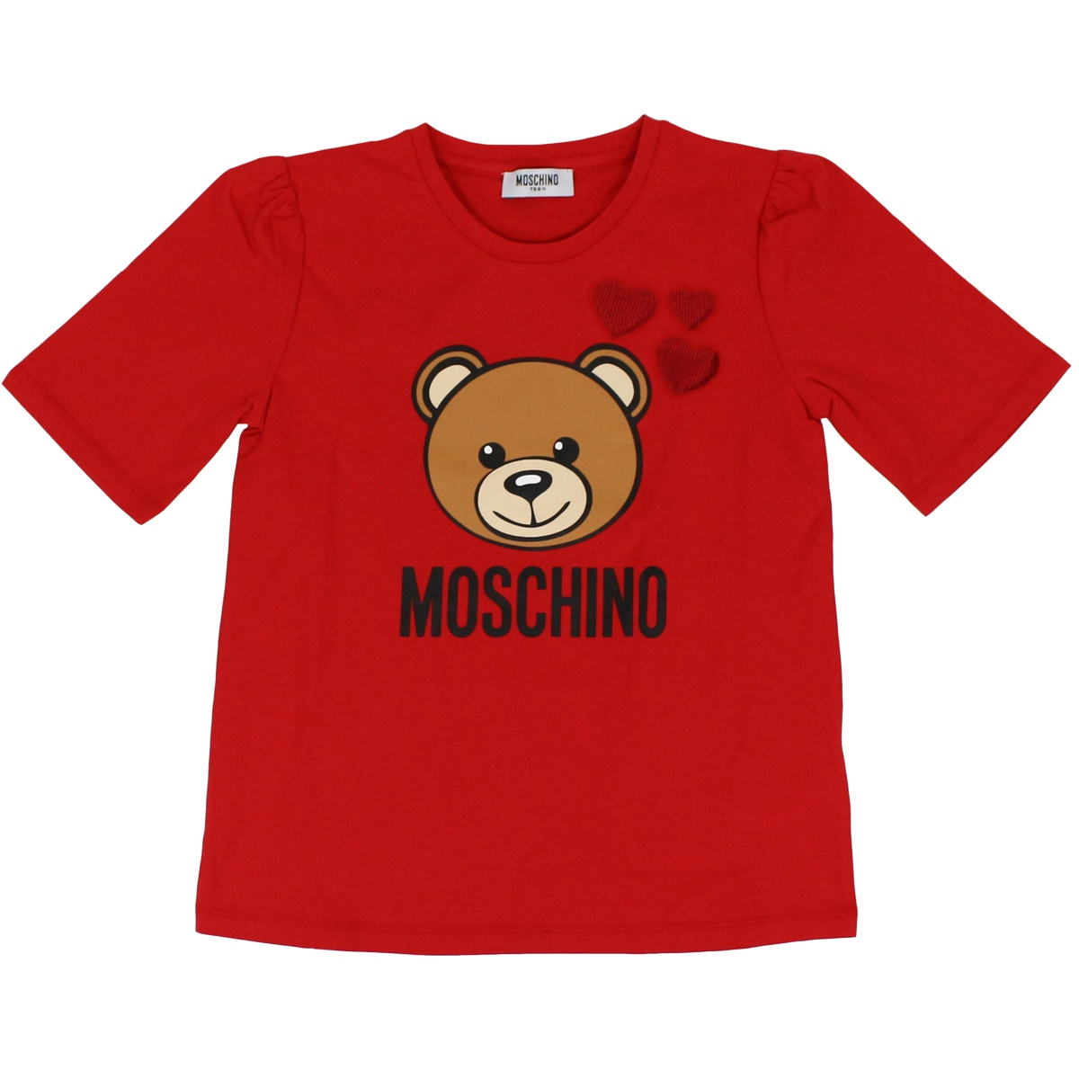 Bear and hearts print t-shirt Red MOSCHINO