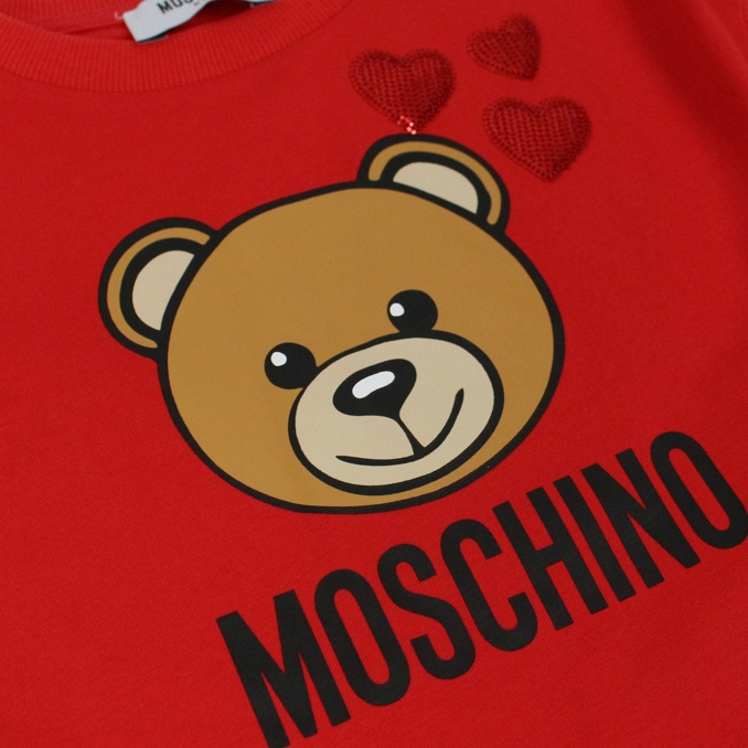 Dress with bear and hearts print Red MOSCHINO