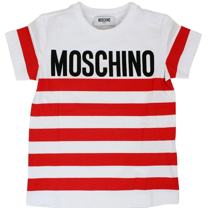 T-shirt with striped pattern Red MOSCHINO