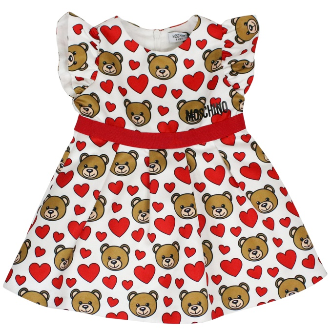 Little dress with bear and hearts print White red MOSCHINO