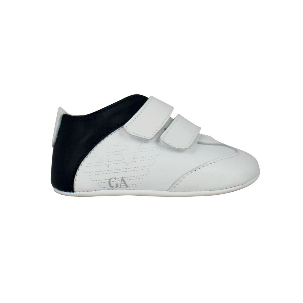 Sneakers in leather with tears White / blue Emporio Armani