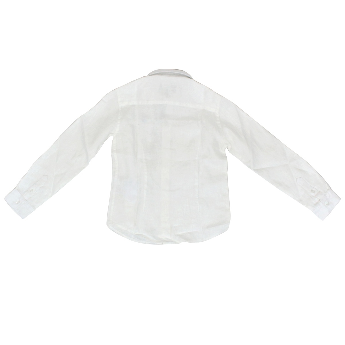 Pure linen shirt with logo embroidery White EMPORIO ARMANI