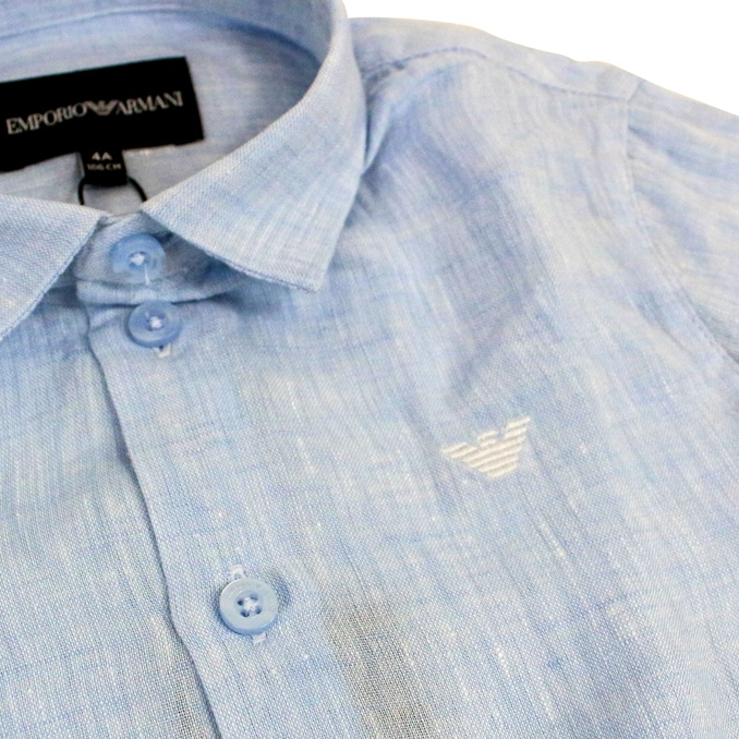 Pure linen shirt with logo embroidery Heavenly EMPORIO ARMANI