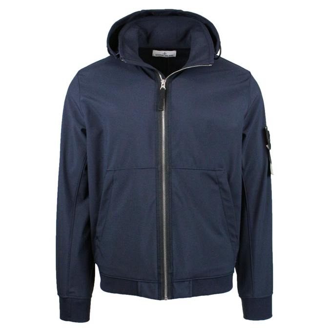 Short stretch jacket with hood Blue Stone Island