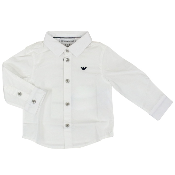Long sleeve shirt with logo White EMPORIO ARMANI