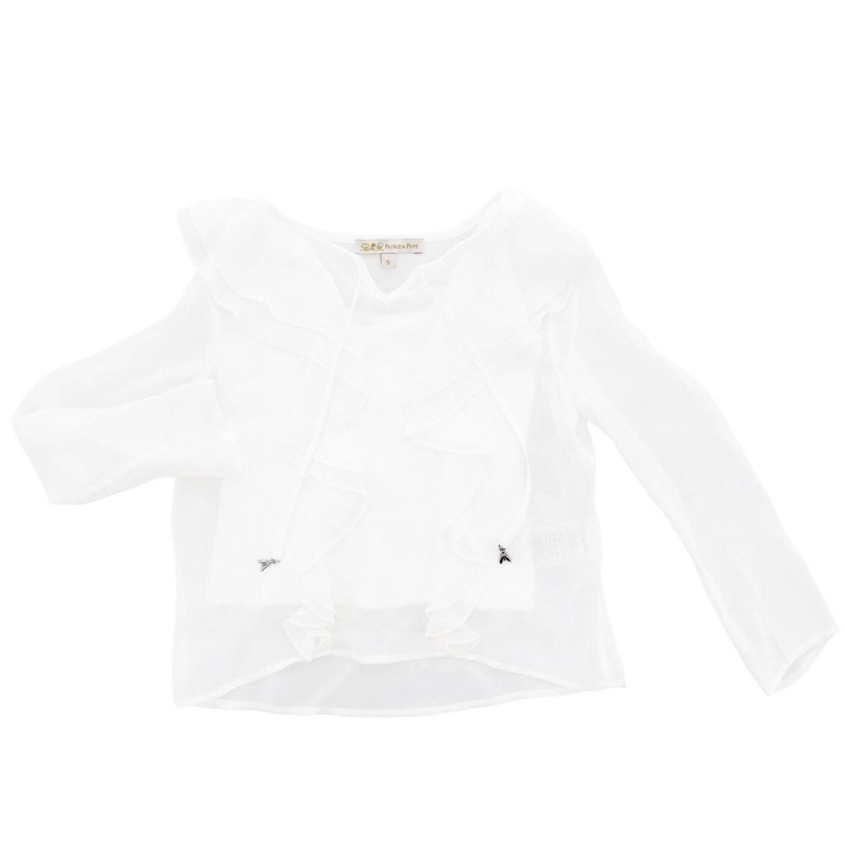 wide cut shirt with ruffles Cream Patrizia Pepe