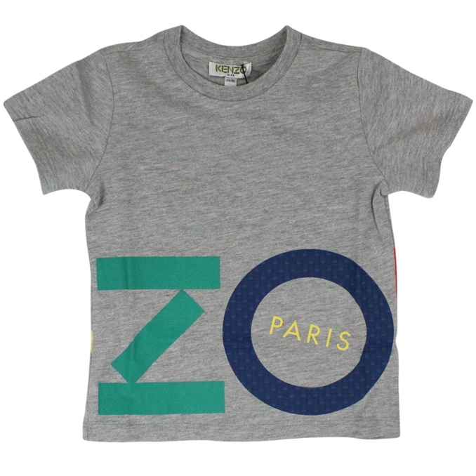 Cotton t-shirt with maxi colored logo Grey KENZO