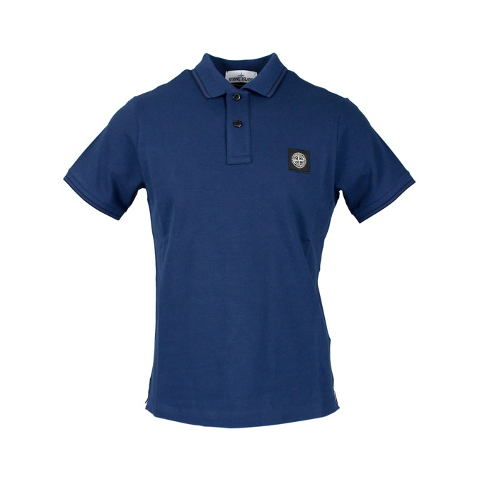 Elasticized polo with perfil and logo Blue Stone Island