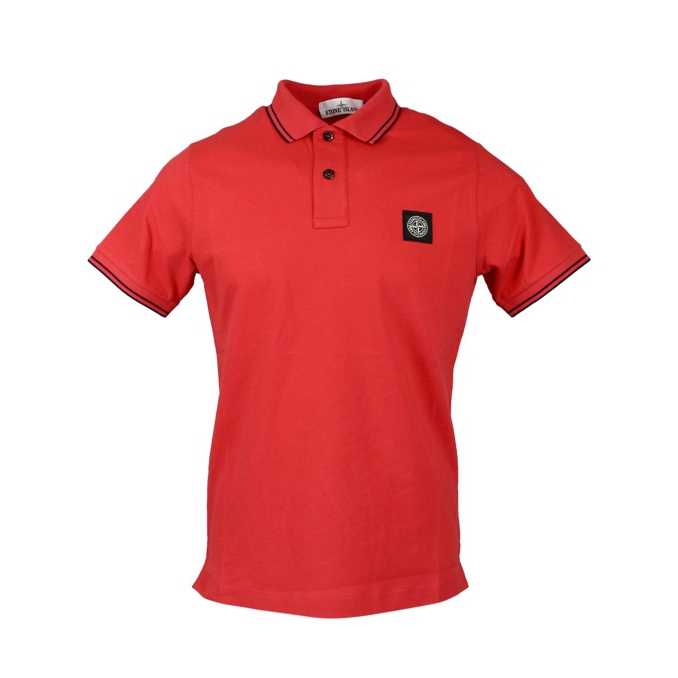 Elasticized polo with perfil and logo Coral Stone Island