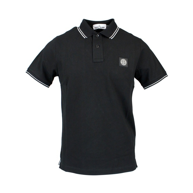 Elasticized polo with perfil and logo Black Stone Island