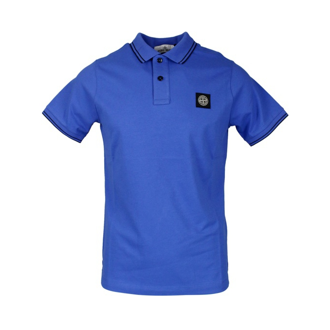 Elasticized polo with perfil and logo Periwinkle Stone Island