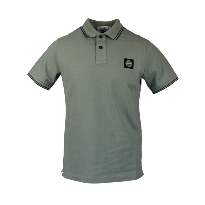 Elasticized polo with perfil and logo Sage Stone Island