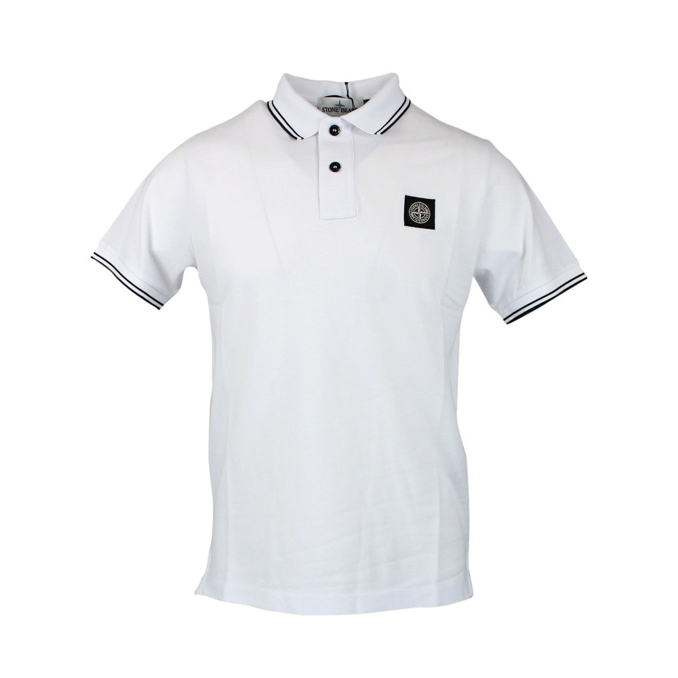 Elasticized polo with perfil and logo White Stone Island