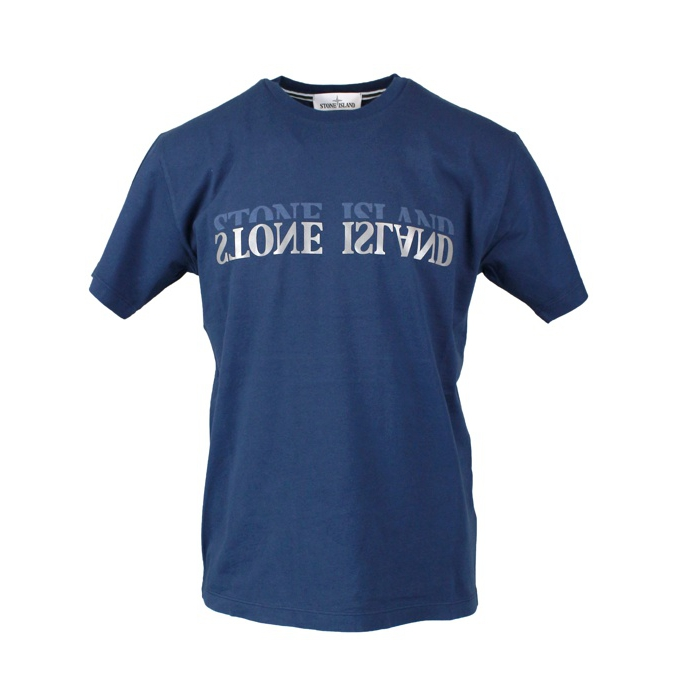 Cotton t-shirt with mirror effect logo Blue Stone Island