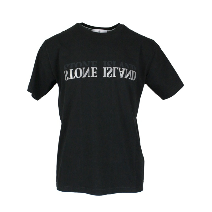 Cotton t-shirt with mirror effect logo Black Stone Island