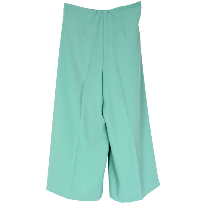Wide trousers with bow belt Green water Elisabetta Franchi