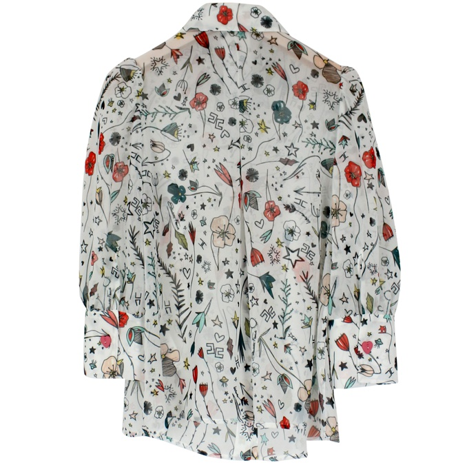 Shirt with multicolor all-over print Ivory Elisabetta Franchi