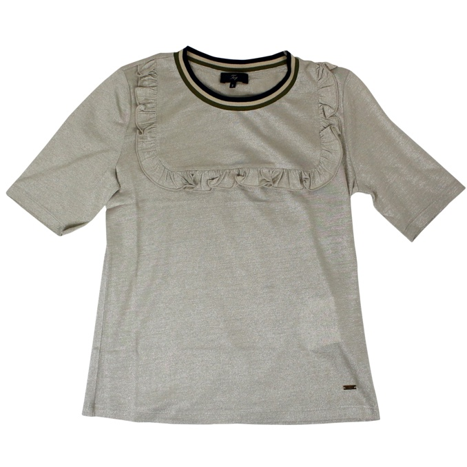 Lurex t-shirt with ruffles and perfilo Gold Fay