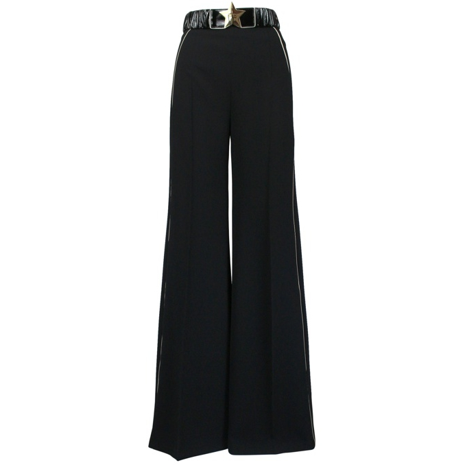 Wide trousers with belt Black Elisabetta Franchi