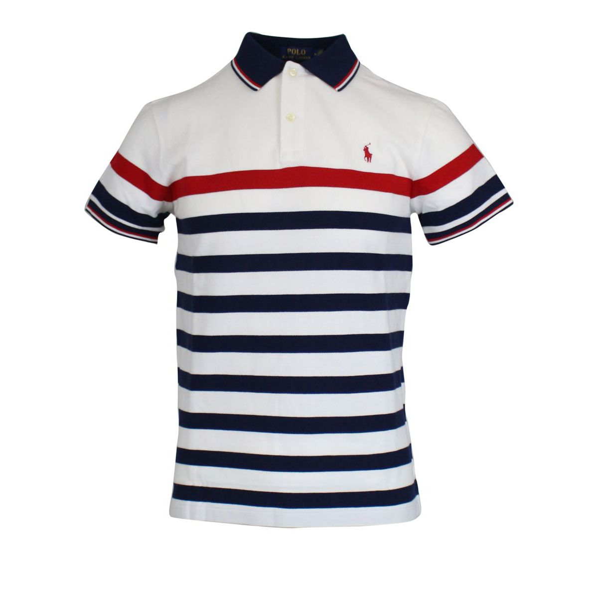 Polo in cotone con motivo a righe B.co/blu Polo Ralph Lauren