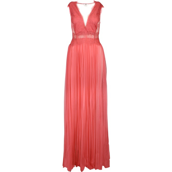 Pleated tulle dress with lace Peony Elisabetta Franchi