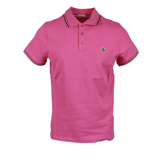 3 button cotton polo shirt with contrasting trim Rose Moncler