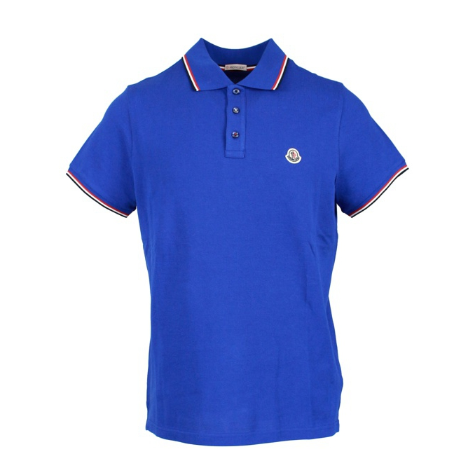 3 button cotton polo shirt with contrasting trim Royal Moncler