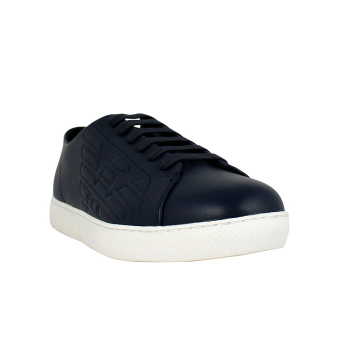 Leather sneakers with logo Night Emporio Armani