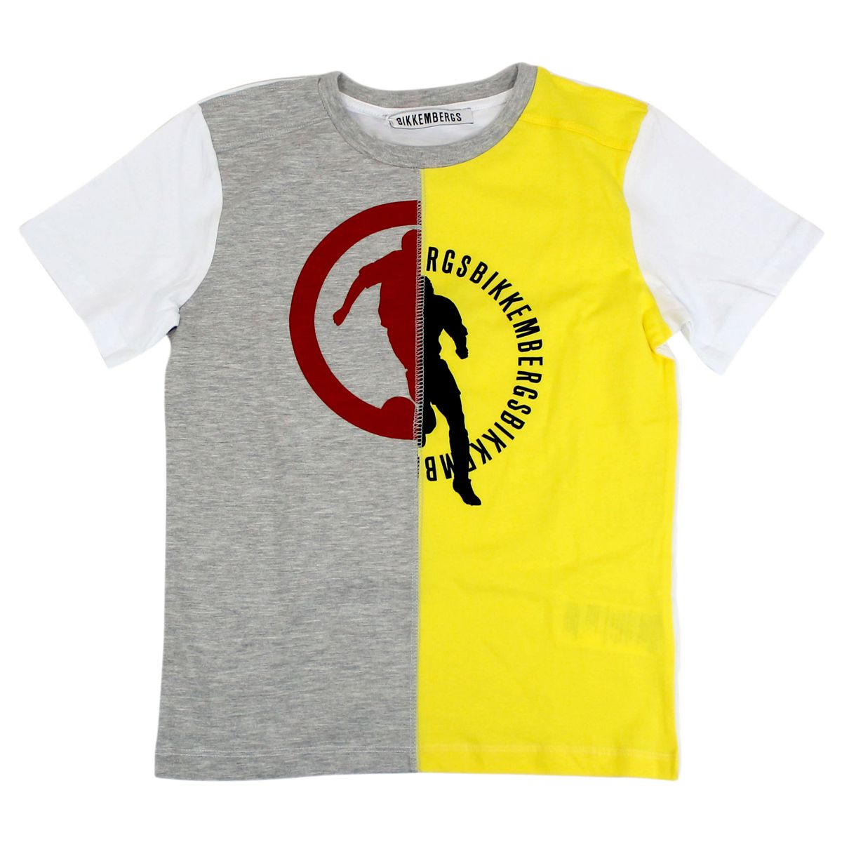 T-shirt with bicolor print Gray / yellow Bikkembergs