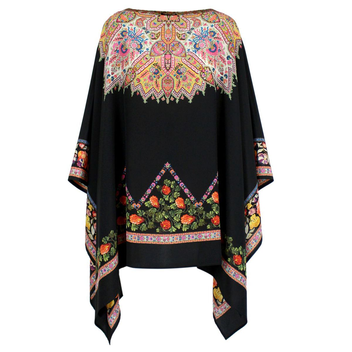 Silk poncho with print Black Etro