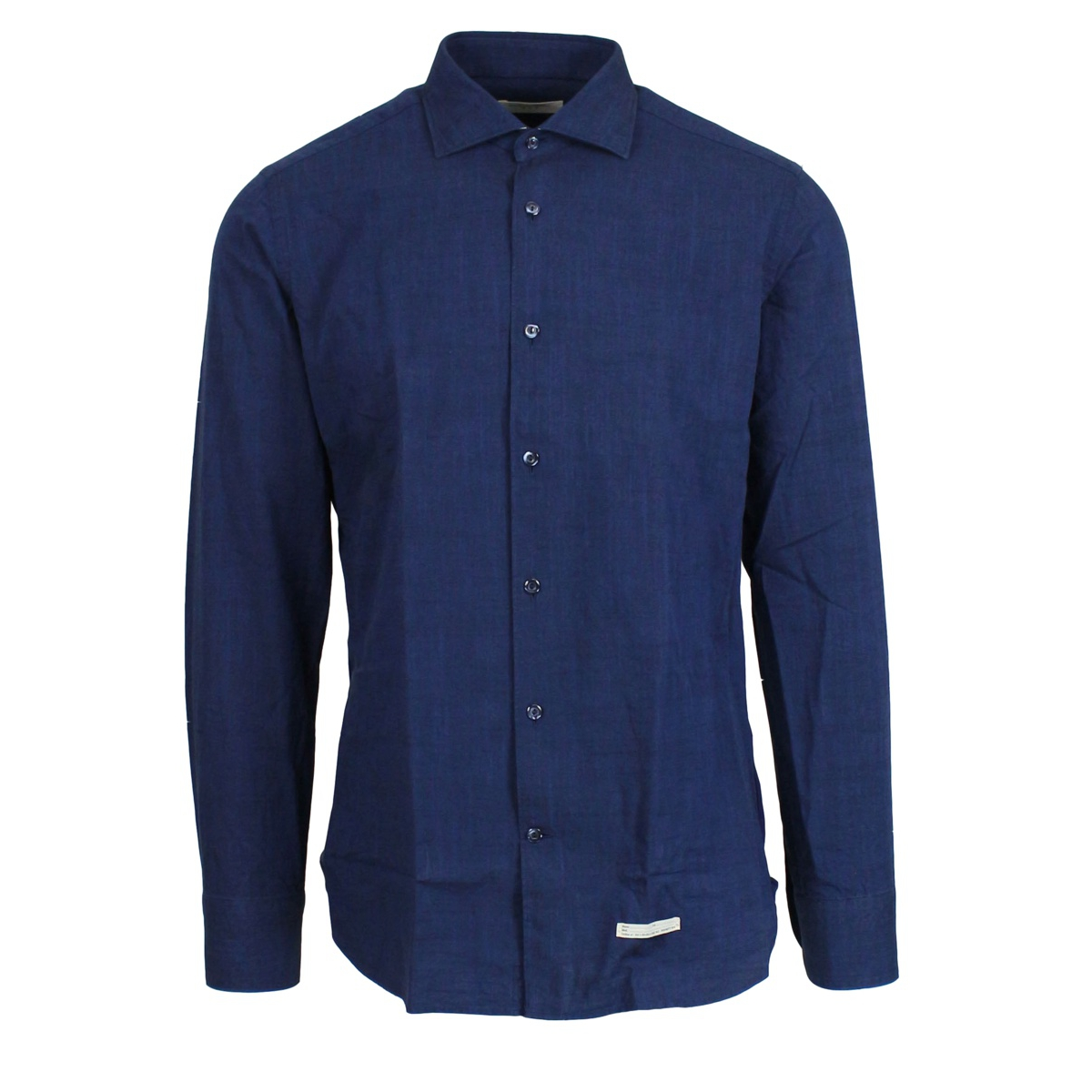 Solid color shirt with French collar Navy TINTORIA MATTEI