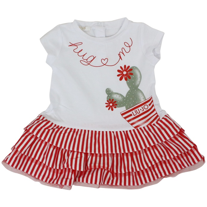 Dress with ruffles on the bottom White red LIU JO