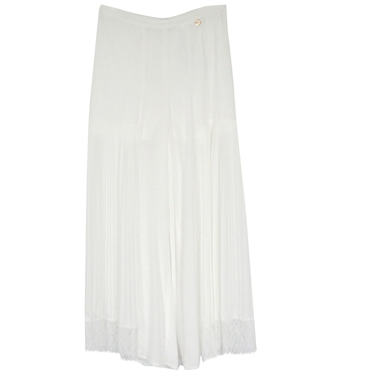 Pleated georgette trousers with lace White Twin-Set