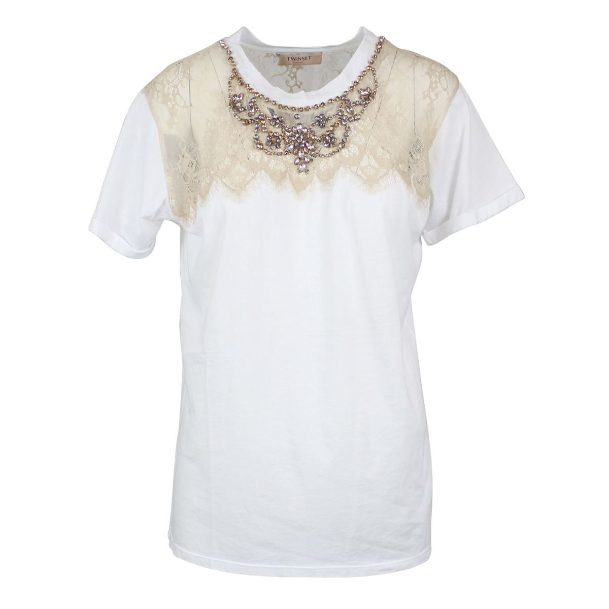 Cotton T-shirt with lace and rhinestone inserts White Twin-Set