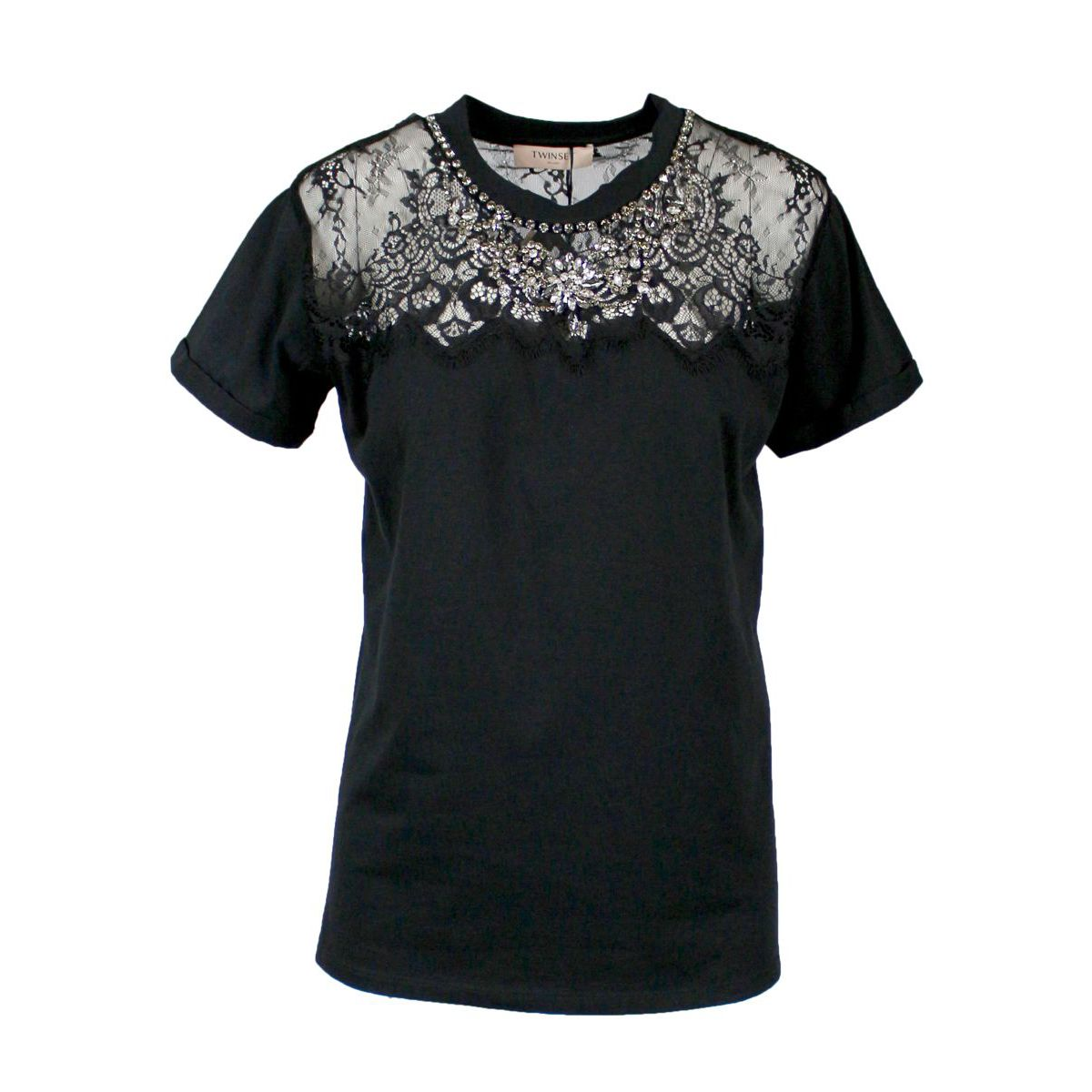 Cotton T-shirt with lace and rhinestone inserts Black Twin-Set