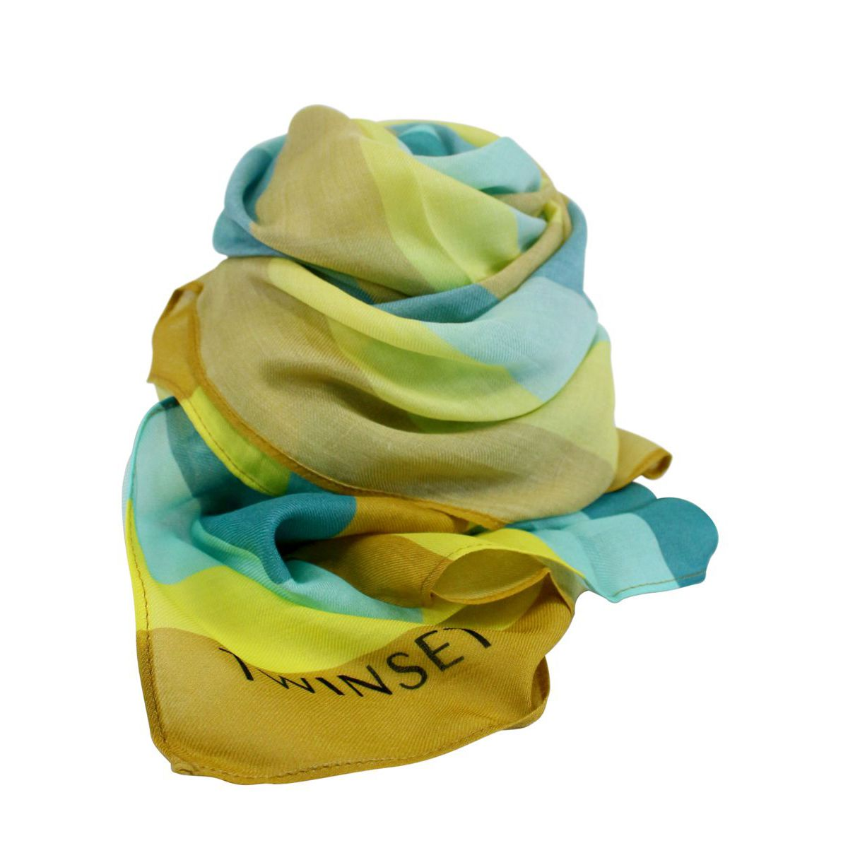 Foulard in misto modal e viscosa a fantasia Verde / giallo Twin-Set