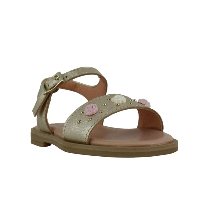 Leather sandal with inserts Platinum Clarys