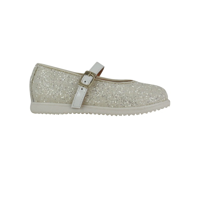 Ballerina all glitter with buckle White Clarys