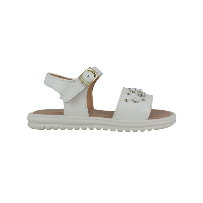 Sandal with buckle and inserts White Clarys