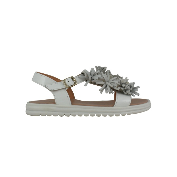 Leather sandal with applications White Clarys
