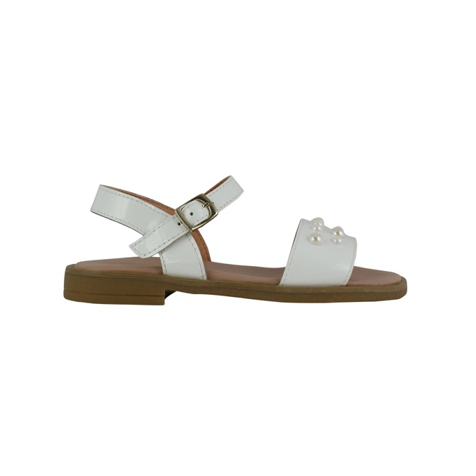 Leather sandals with pearls White Clarys