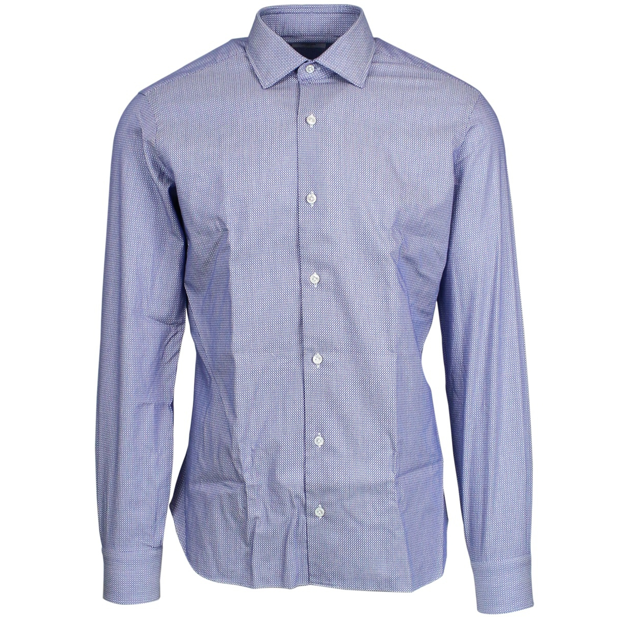 Micro patterned shirt with French collar Light blue Barca Culto