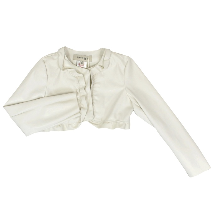 Short faux leather jacket with rouches Cream Twin-Set
