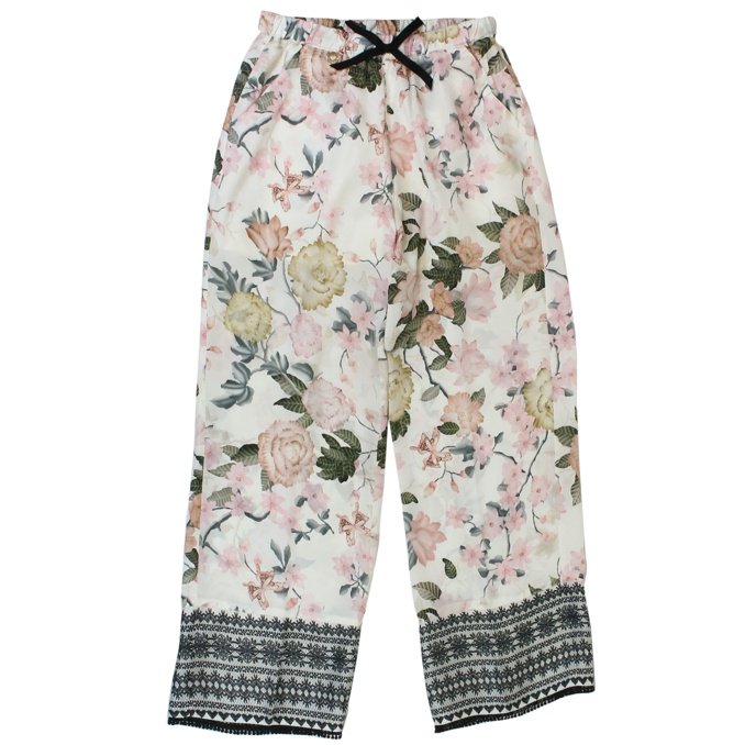 Viscose trousers with flower print Beige Twin-Set