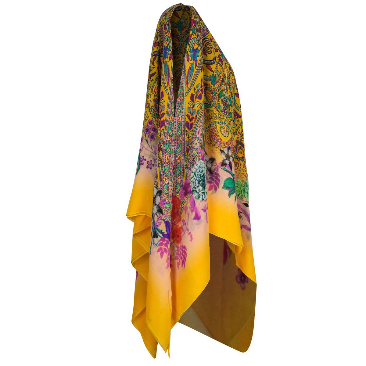Silk poncho with multicolor print Multicolor Etro